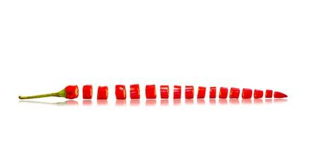 Nischenrückwand - Spritzschutz Peperoni in Scheiben